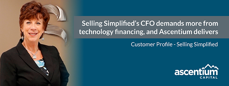 Image of Selling Simplified CFO with text that reads Selling Simplified's CFO demands more from technology financing