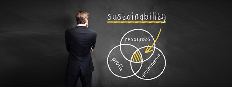 Business man looking at venn diagram with sustainability benefits