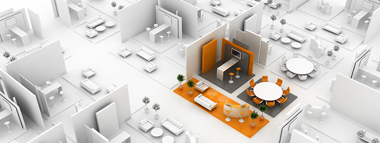 image showing trade show floor all in white with one booth highlighted in orange to show placement of booth