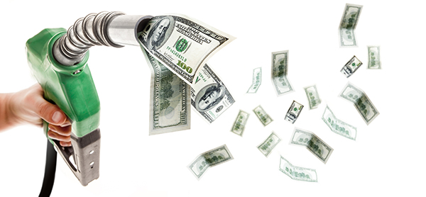 image of gas pump nozzle with money flowing out of it