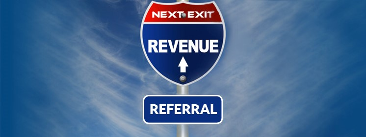 image of street sign saying referral revenue at next exit
