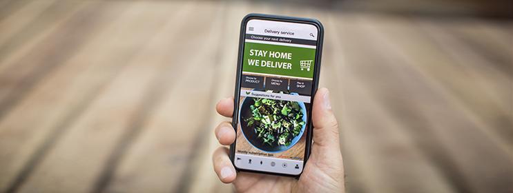 image of phone with online food ordering menu