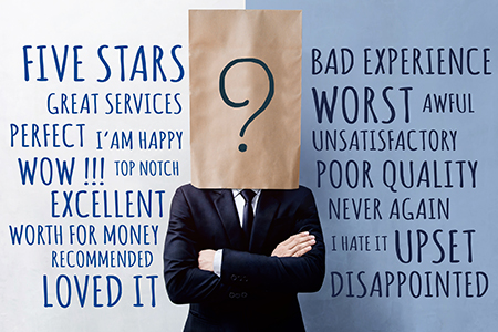 image of businessman with bag over his head and customer experience words around him