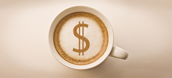 picture of coffee cup with dollar sign design in foam
